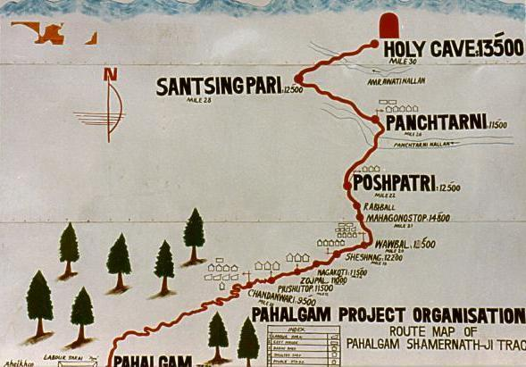 Map: from Pahalgam to Amarnath:30 miles one-way