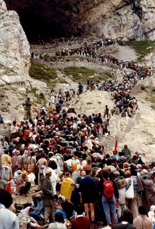 Amarnath Yatra - Queue before the Holy Cave, Kashmir, India Pilgrims make 4 to 5 hours on the stairs to enter the Cave for their Puja